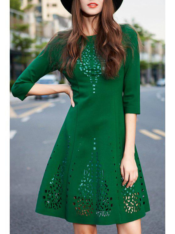 fancy Hollow A Line Round Neck 3/4 Sleeve Dress - GREEN S