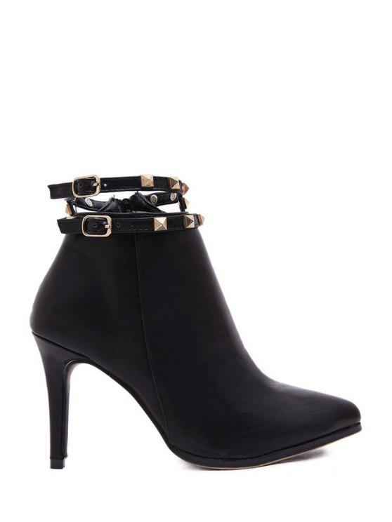trendy Rivets Buckle Solid Color High Heel Boots - BLACK 38