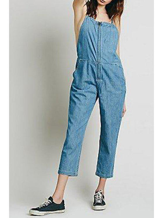 buy Bleach Wash Suspender Jeans - LIGHT BLUE XS