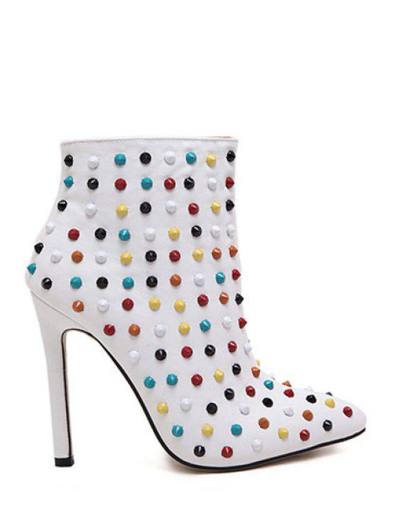 shop Rivets Zipper Pointed Toe High Heel Boots - WHITE 38