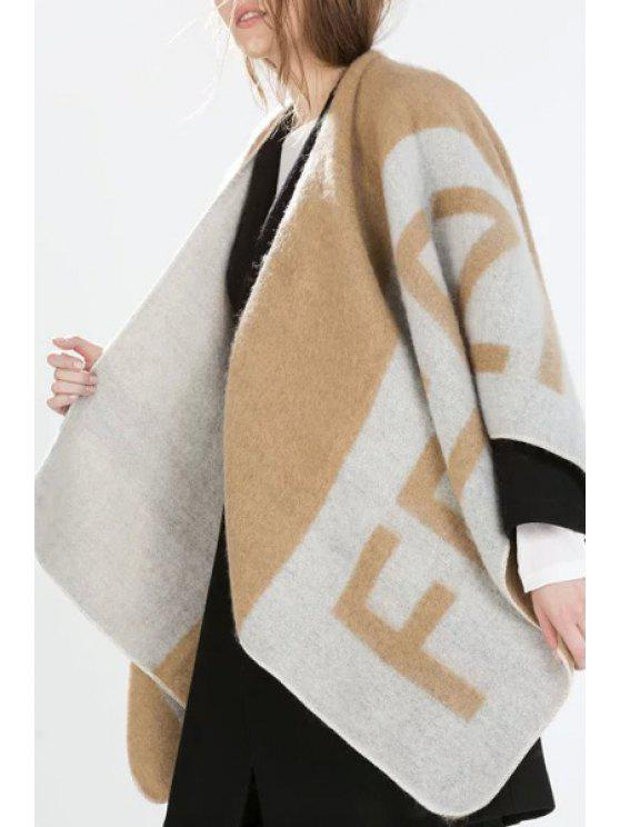 outfit Letter Pattern Cape Cardigan - KHAKI ONE SIZE(FIT SIZE XS TO M)