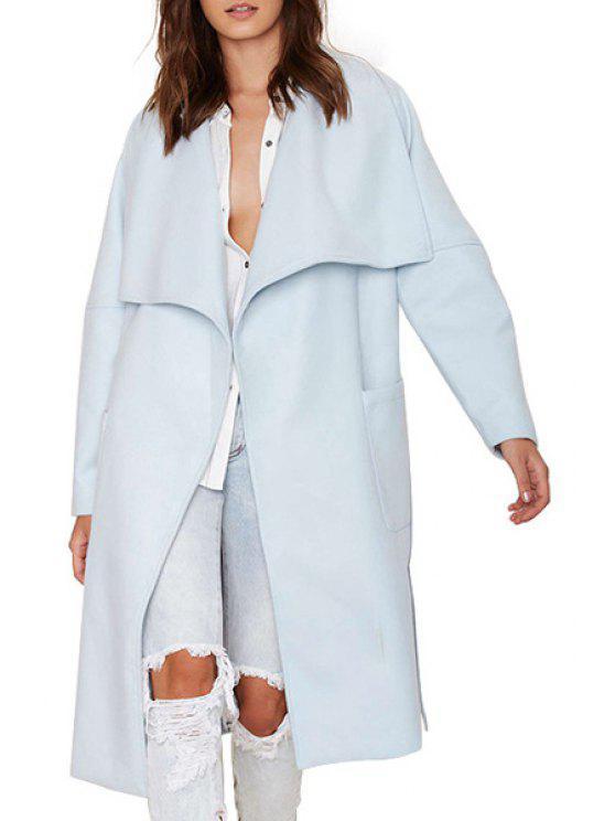 shop Light Blue Turn Down Collar Long Sleeve Coat - LIGHT BLUE S
