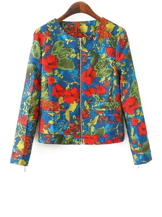sale Floral Print Round Collar Long Sleeves Zipper Jacket - COLORMIX S
