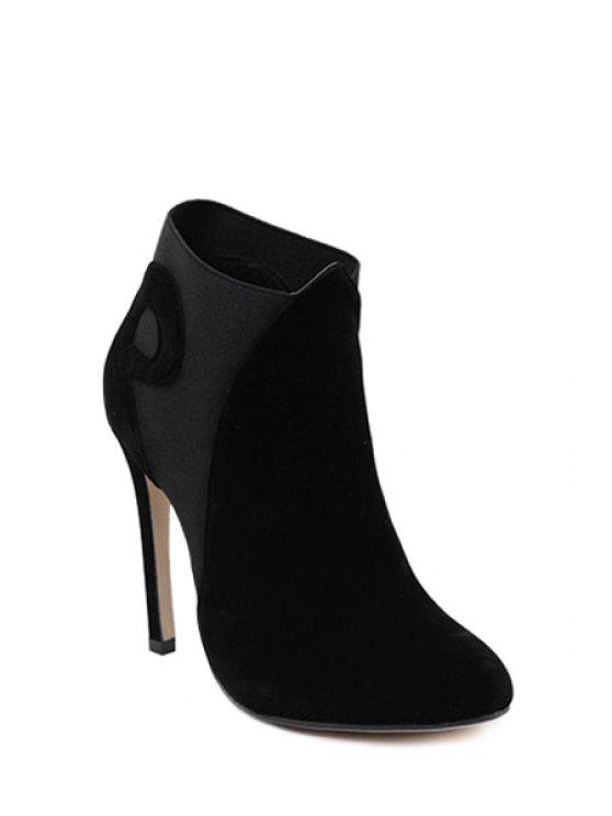 best Splice Suede Pointed Toe High Heel Boots - BLACK 38