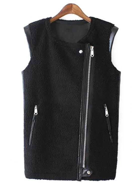 best PU Leather Round Collar Black Zipper Waistcoat - BLACK S