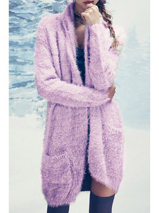 Cardigan Mohair à manches longues violet clair - Violet Clair M