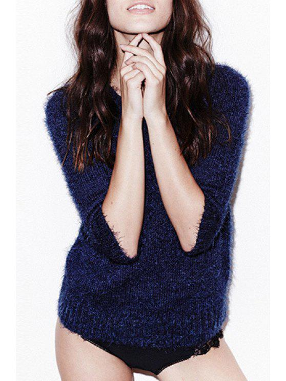 fashion Navy Blue Mohair Round Neck Long Sleeve Jumper - NAVY BLUE S