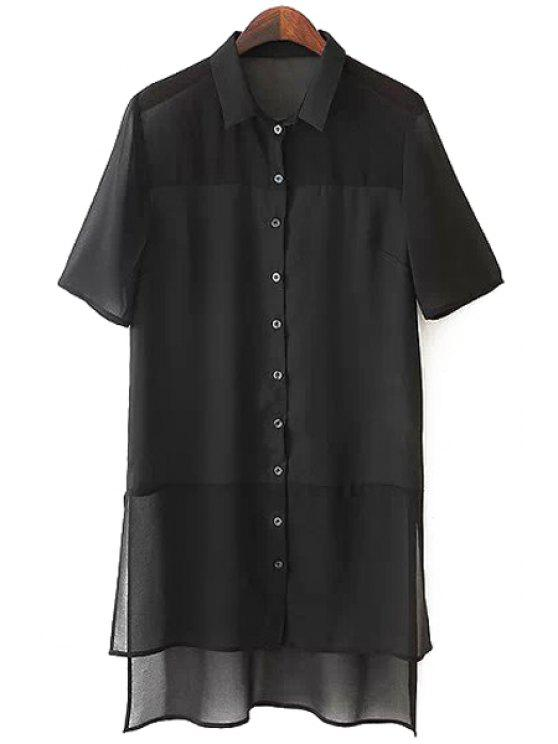 ladies Solid Color Flat Collar Short Sleeves Irregular Hem Blouse - BLACK S