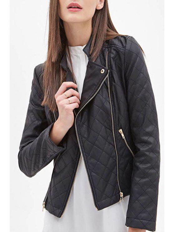 sale Black Faux Leather Stand Neck Jacket - BLACK S