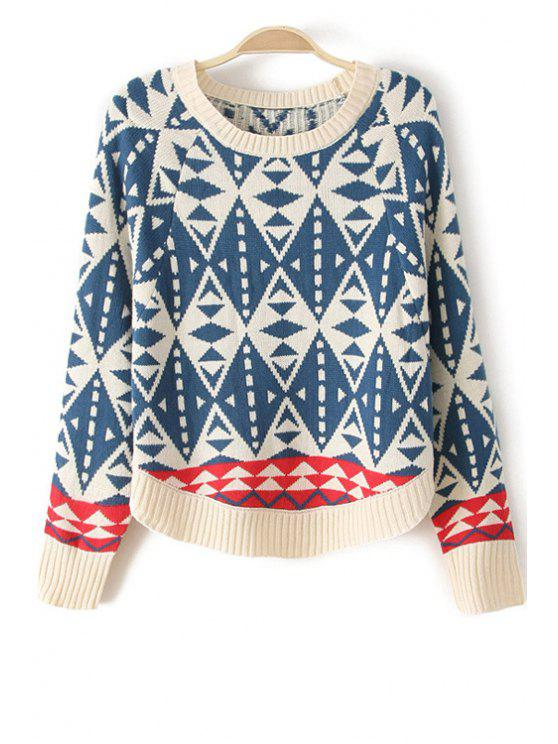 online Color Matching Round Collar Batwing Sleeves Pullover Sweater - BLUE ONE SIZE(FIT SIZE XS TO M)