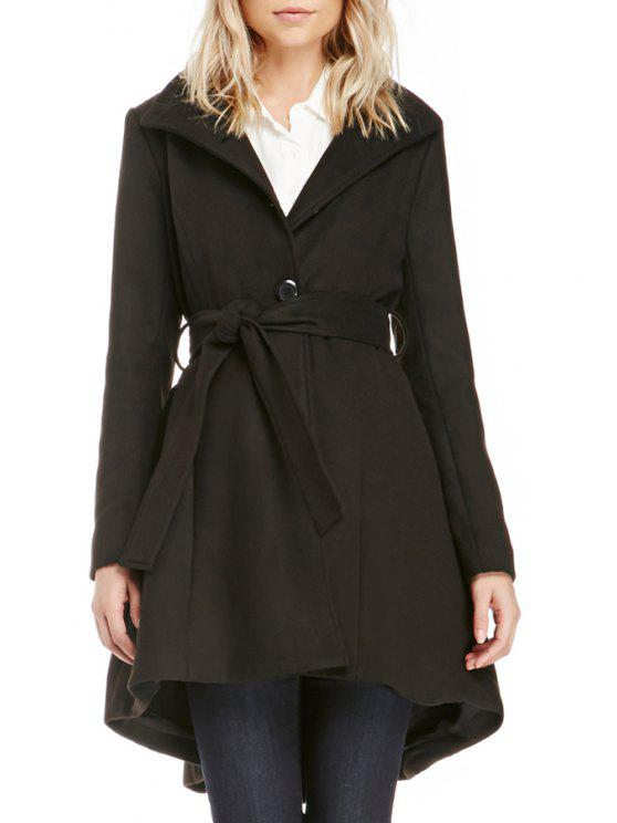 lady Funnel Collar Self-Tie Belt Dovetail Coat - BLACK M