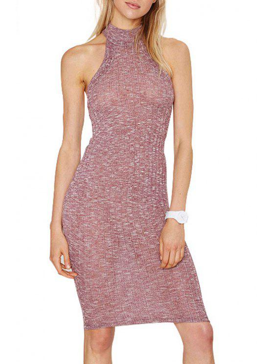 women Pure Color Stand Neck Sleeveless Sweater Dress - PINK M