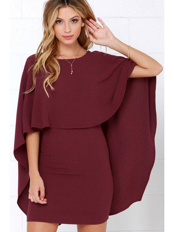 lady Backless Cape Design Bodycon Dress - WINE RED M