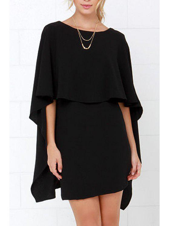 Backless Cape Design Bodycon Dress - Noir XS