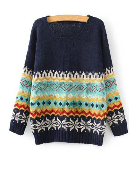 shops Stripe Jacquard Wave Round Collar Pullover Sweater - CADETBLUE ONE SIZE(FIT SIZE XS TO M)