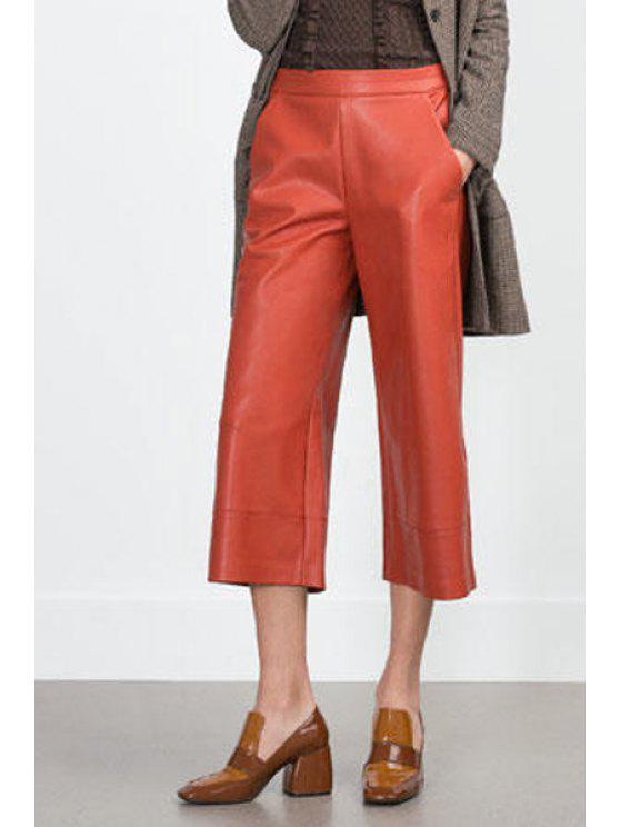 online PU Leather Orange Spliced 3/4 Palazzo Pants - ORANGE S