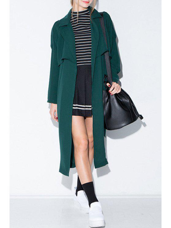 chic Lapel Pocket Design Trench Coat - BLACKISH GREEN XS