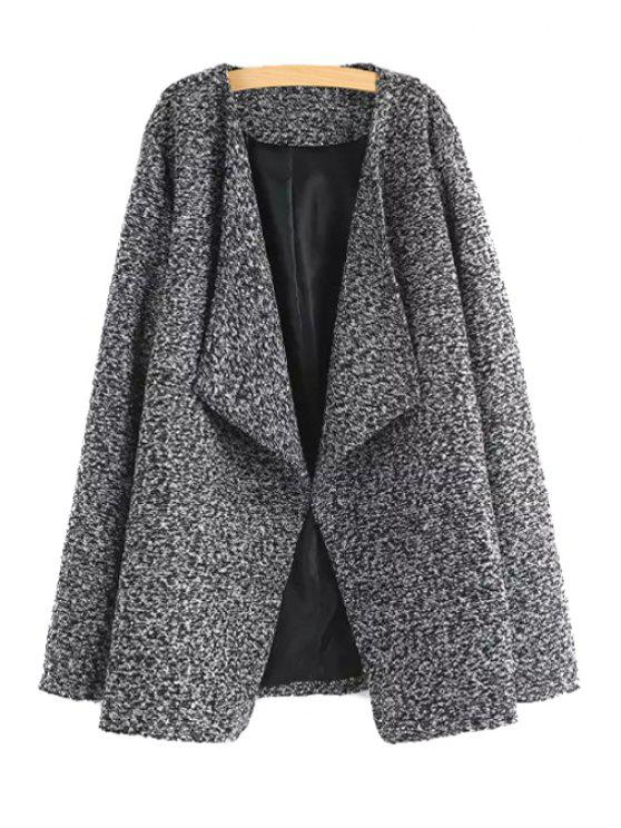 affordable Pure Color Turn- Down Collar Braided Coat - GRAY S