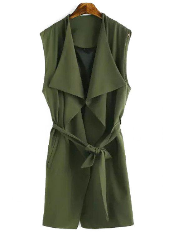 online Solid Color Turn-Down Collar Waisted Waistcoat - GREEN S