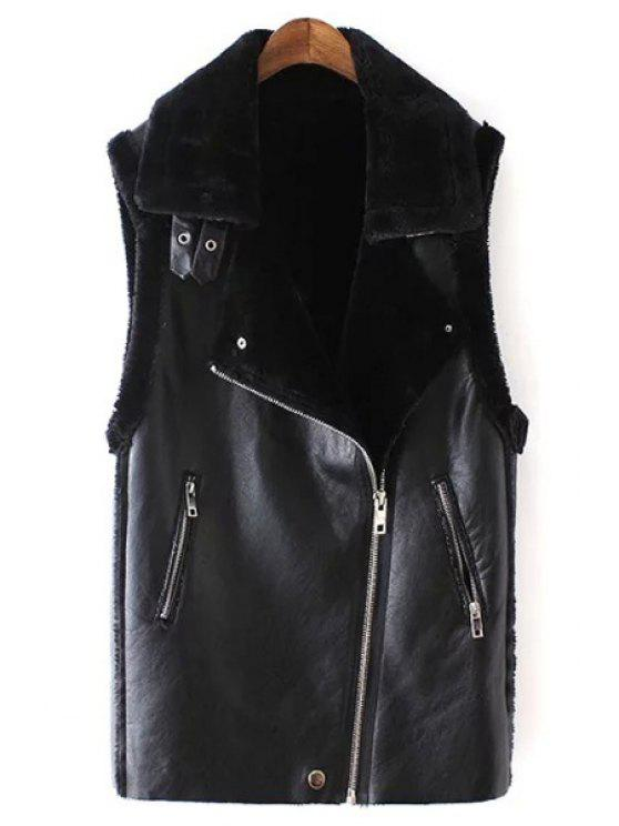 fashion Black Turn-Down Collar Faux Fur PU Leather Waistcoat - BLACK S