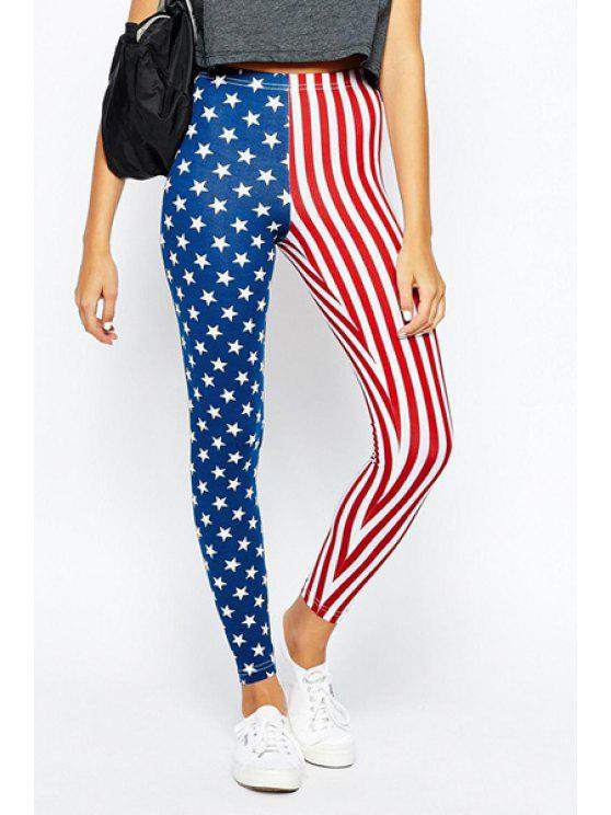 shops American Flag Print High Low Leggings - BLUE AND RED S