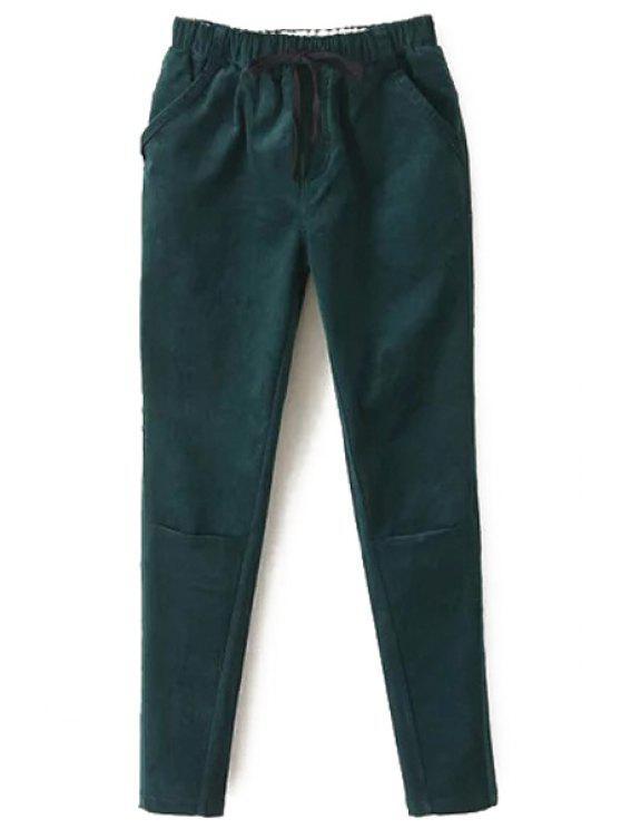 Pantalones de harem de color sólido de algodón pana - Verde M
