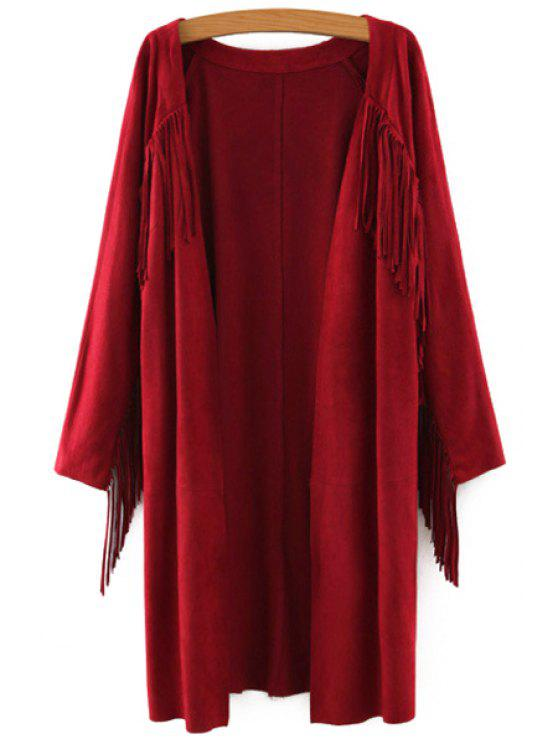 unique Solid Color Collarless Long Sleeves Faux Suede Cardigan - WINE RED S