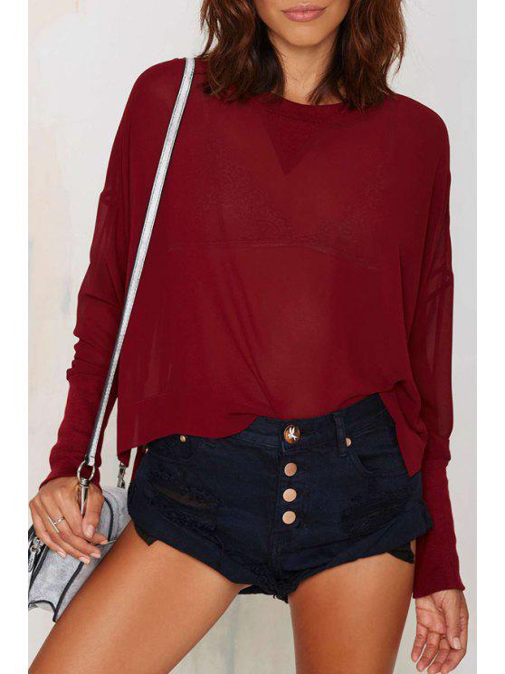 women's Wine Red Round Neck Long Sleeve Loose T-Shirt - WINE RED S
