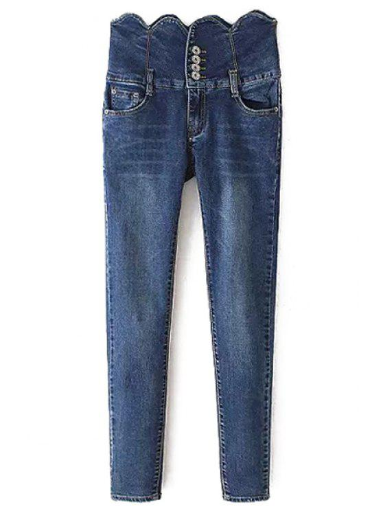 shops High Waisted Wave Edge Button Women's Jeans - BLUE S