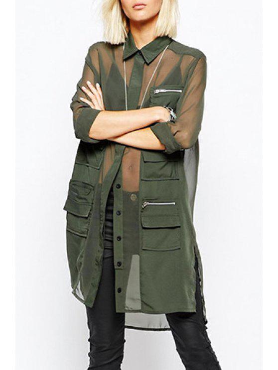 new See-Through Turn Down Collar Long Sleeve Shirt - GREEN S