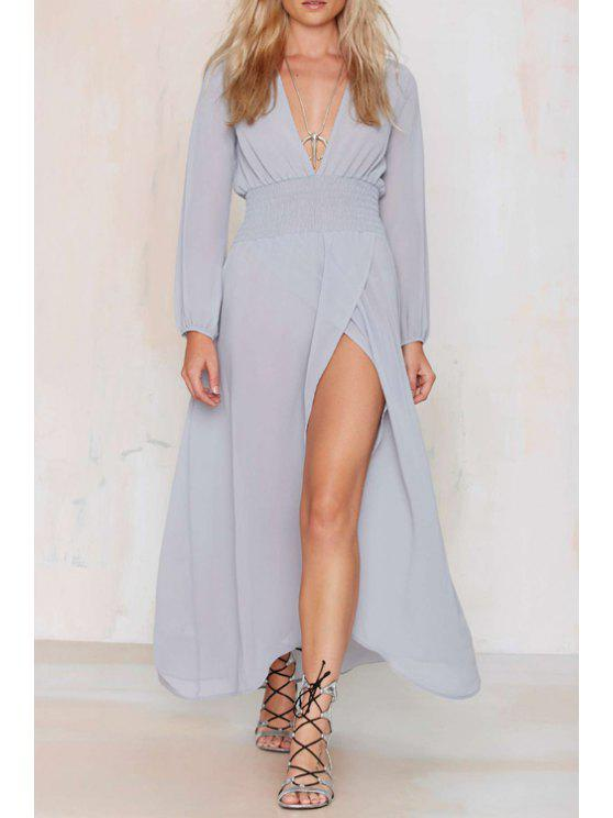 affordable Plunging Neck High Slit Chiffon Dress - LIGHT PURPLE XS