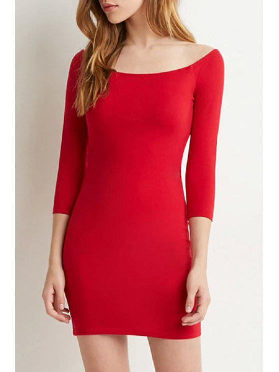 women's Pure Color Slash Neck 3/4 Sleeve Bodycon Dress - RED XL