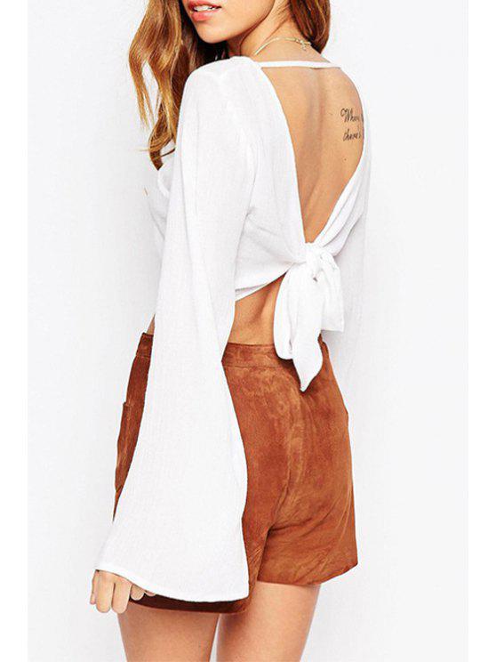hot White Long Sleeve Backless Blouse - WHITE S