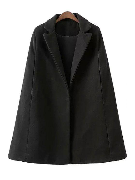 women Black Cape Lapel Collar Loose-Fitting Thicken Coat - BLACK S