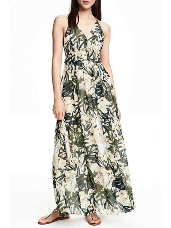 chic Tropical Print Maxi Cami Dress - GREEN XS