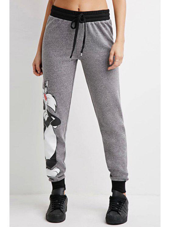 chic Cartoon Cat Pattern Narrow Feet Pants - GRAY XS