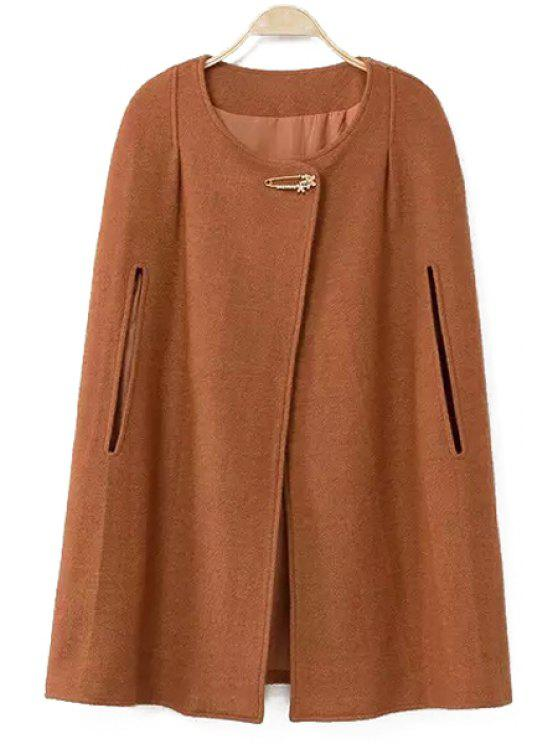lady Round Collar Solid Color Woolen Cape Coat - BROWN S