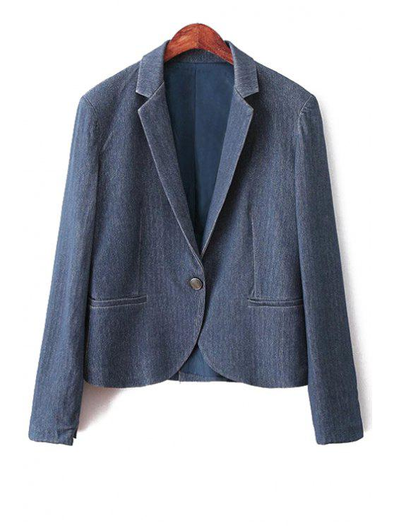 unique Blue Denim Lapel Long Sleeve Blazer - BLUE L