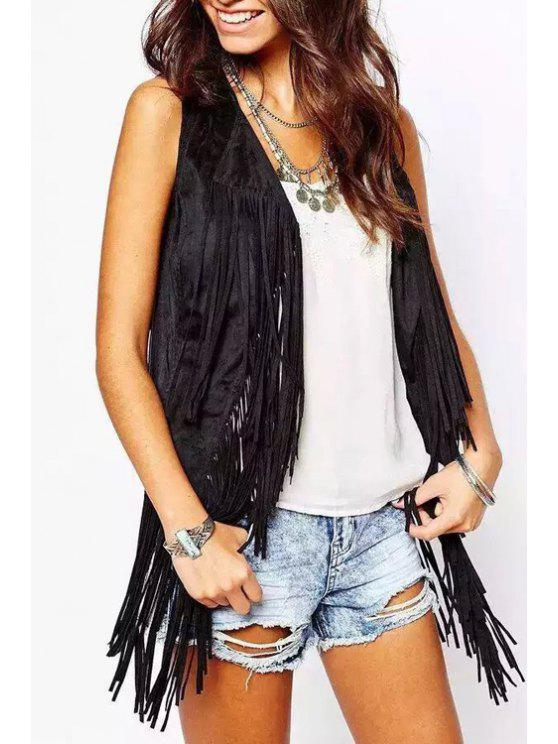 womens Trendy Open Front Tassels Spliced Women's Suede Waistcoat - BLACK S
