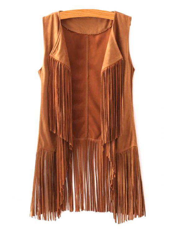 new Trendy Open Front Tassels Spliced Women's Suede Waistcoat - YELLOW L