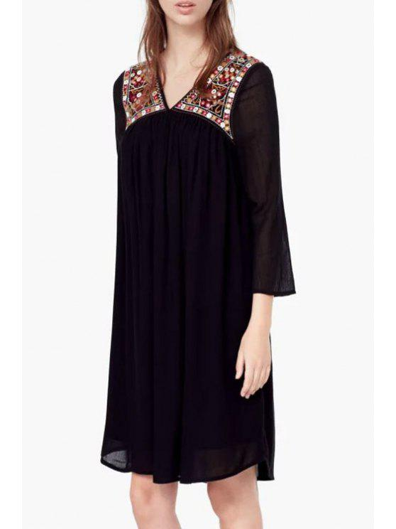 womens 3/4 Sleeve Embroidered Dress - BLACK S