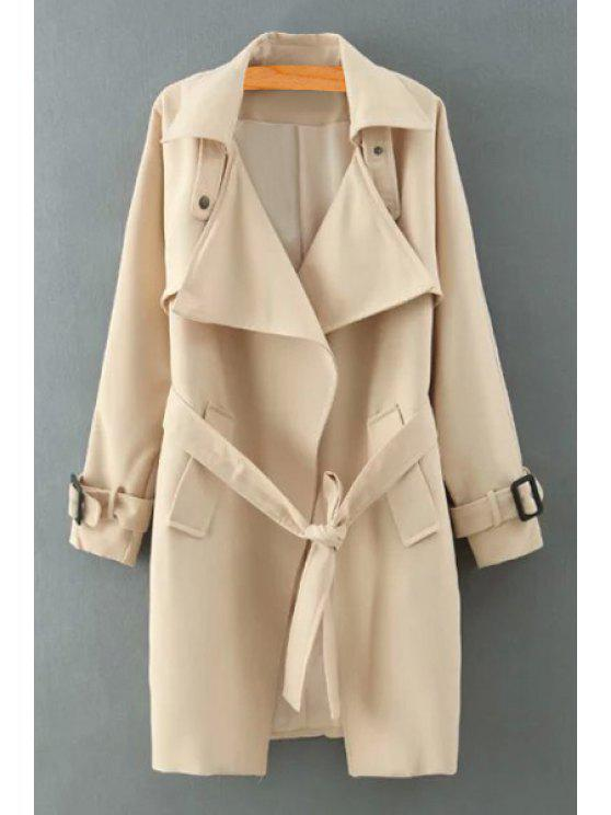 hot Lapel Self-Tie Belt Trench Coat - KHAKI S