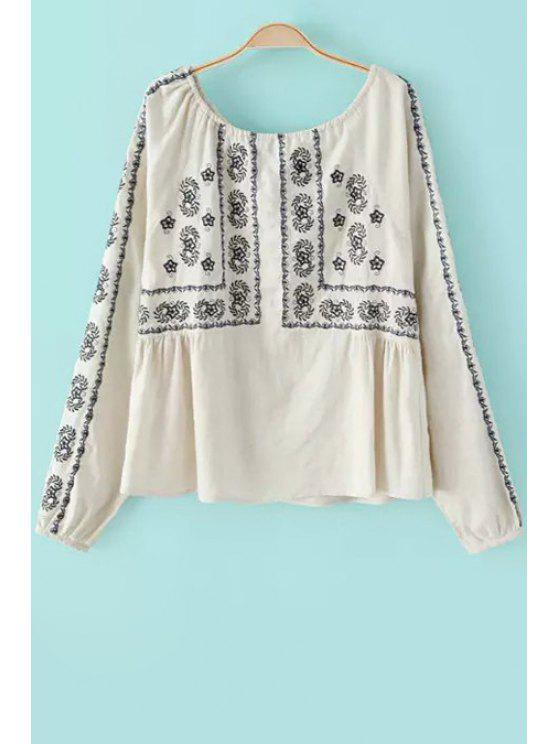 shops Floral Embroidery Scoop Neck Long Sleeve Blouse - OFF-WHITE S