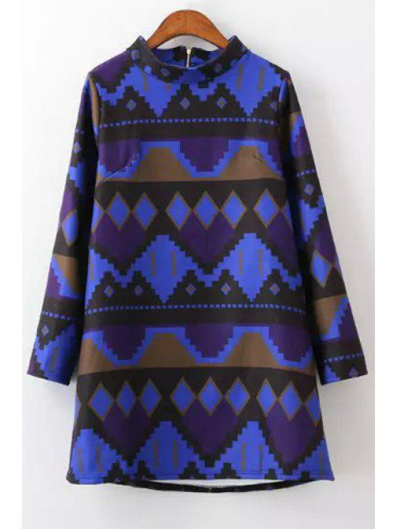 buy Stand Neck Printed Dress - COLORMIX M