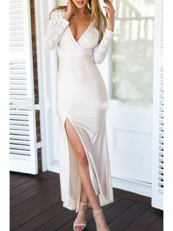 trendy Plunging Neck Long Sleeves Lace Spliced Side Slit Dress - WHITE S