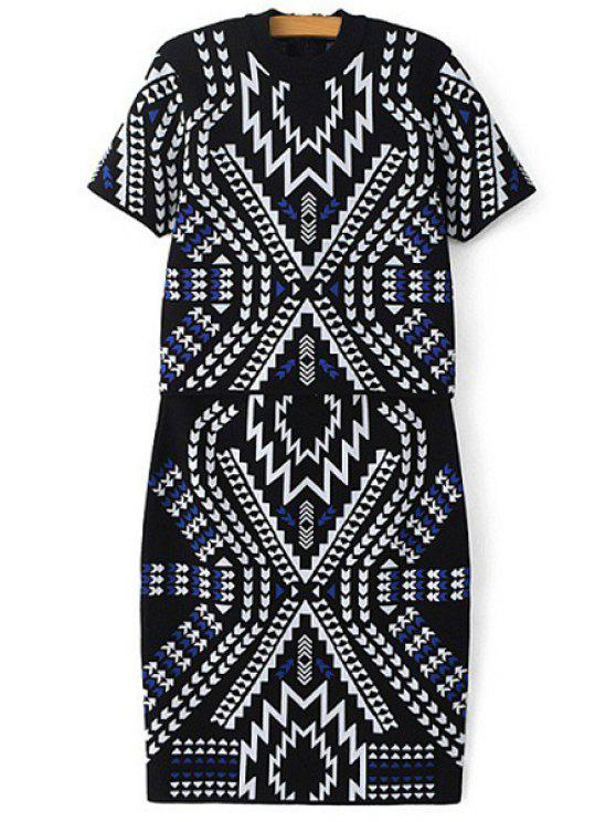 best Geometric Pattern Short Sleeve Sweater and Skirt Suit - AS THE PICTURE S