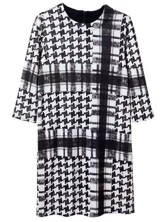 new Houndstooth Round Neck 3/4 Sleeve Dress - WHITE AND BLACK S
