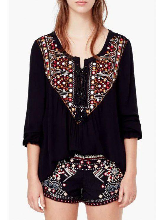 sale Long Sleeve Embroidered Blouse - BLACK S