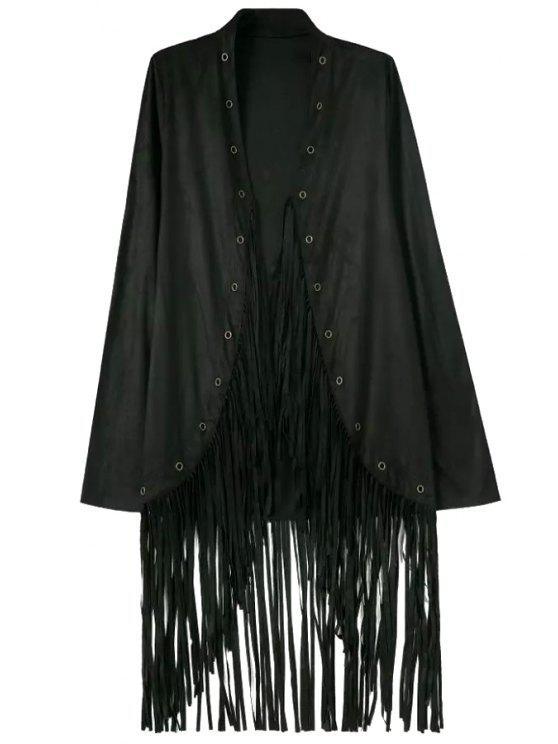 hot Tassels Stand Neck Long Sleeve Coat - BLACK S