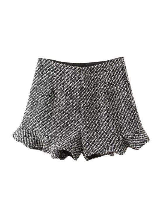 latest Ruffle Hem Winter Shorts - GRAY S